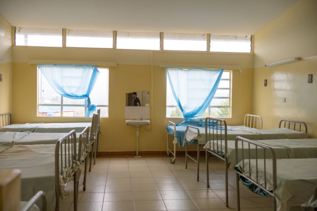 Hospital room with beds